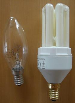 Vergleich Glühbirne Energiesparlampe